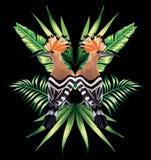 戴胜和热带叶子镜象反射 库存照片
