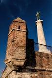 胜者纪念碑,贝尔格莱德的标志 库存图片