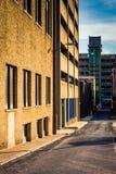 胡同和停车库在街市哈里斯堡,宾夕法尼亚 免版税库存图片