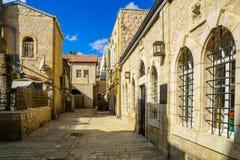 胡同在历史的Nachalat希瓦区,耶路撒冷,以色列 免版税库存照片