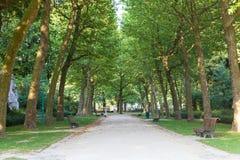 胡同在城市公园在布鲁塞尔 免版税库存照片