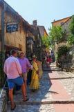 胡同在Eze中世纪村庄,南法国 库存图片