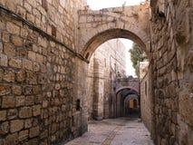 胡同城市以色列老耶路撒冷 图库摄影