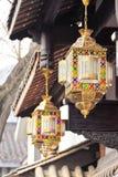 胡同的宽度在成都,中国,灯笼 免版税图库摄影