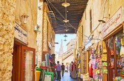 胡同迷宫在Souq Waqif,多哈,卡塔尔 库存图片
