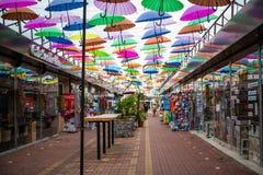 胡同高昂伞在索契,爱德乐 免版税库存照片