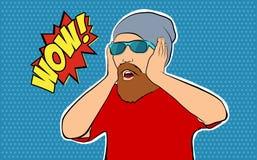 戴胡子佩带的眼镜的一个人仿照画报样式 免版税图库摄影