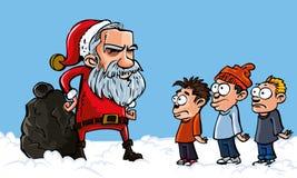 胡子动画片平均值圣诞老人白色 皇族释放例证