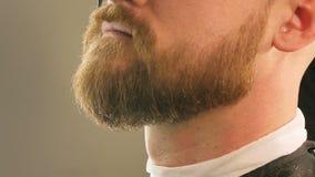 胡子和人的髭的特写镜头整理与剪刀在理发店,人的一发廊 股票录像