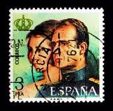 胡安・卡洛斯一世, serie国王的宣布,大约1975年 免版税库存照片