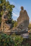 胡安地亚哥和磨损处胡安de Zumarraga雕塑  免版税库存图片