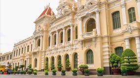 胡志明市人民委员会大厅在清早,越南时间间隔  影视素材