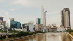 胡志明市全景视图在晚上 越南 库存图片