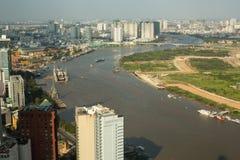 胡志明市顶视图从Bitexco财政塔的 图库摄影
