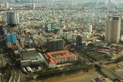 胡志明市顶视图从Bitexco财政塔的 免版税库存照片