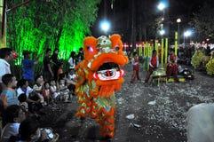 在Tet月球新年节日,越南的龙舞蹈 免版税图库摄影