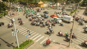 胡志明,越南- 2016年10月13日:高峰时间 密集的交通在胡志明市 越南 图库摄影