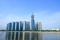 胡志明/越南, 2017年10月29日-在中央公园一个新的项目的高大厦在西贡,胡志明市,越南 免版税库存照片