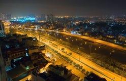 胡志明Ciy都市风景在晚上 西贡,越南 免版税库存照片