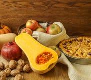 胡桃南瓜和秋天传统苹果饼静物画 图库摄影