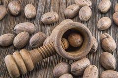 胡桃,崩裂,坚果,食物,被去壳,木头, 图库摄影