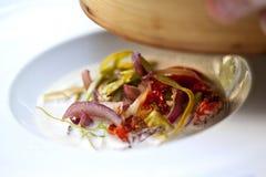 胡椒、蕃茄和青葱 库存照片
