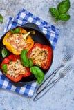 胡椒充塞用肉、米和蕃茄在铸铁 免版税库存图片