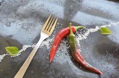 胡椒和叉子 免版税库存图片