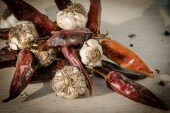 胡椒和大蒜 库存图片