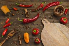胡椒品种在木背景的 与拷贝温泉的顶视图 免版税库存照片