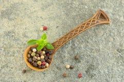 胡椒在一把木匙子的香料五谷 库存图片
