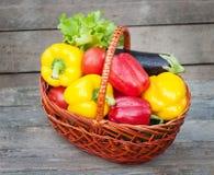 胡椒用蕃茄、莴苣和茄子在篮子在木背景 免版税图库摄影