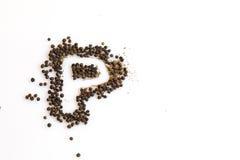胡椒的信件P 免版税库存照片