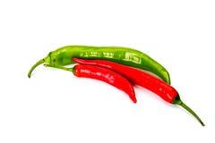 胡椒辣椒和墨西哥胡椒peppe,隔绝在白色 免版税库存照片