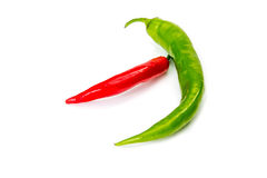 胡椒辣椒,隔绝在白色 库存图片