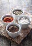 胡椒,牛至和烹调盐在碗 免版税库存照片