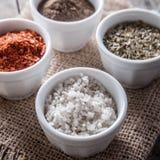 胡椒,牛至和烹调盐在碗 库存照片