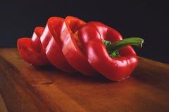 胡椒,青椒,红辣椒,切的胡椒 免版税库存图片