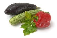 胡椒,黄瓜,茄子 免版税库存图片