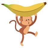 胡闹与嬉戏的面孔和香蕉动画片象 库存照片