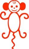 胡闹年的标志,一只小的猴子,动物的例证动画短尾猿,从狂放的密林的动物,画 库存照片