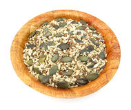 胡麻、南瓜、芝麻和健康的向日葵种子 免版税库存图片
