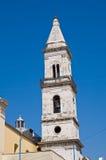 胭脂红教会。切里尼奥拉。普利亚。意大利。 图库摄影