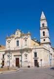 胭脂红教会。切里尼奥拉。普利亚。意大利。 免版税库存图片