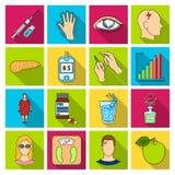 胰岛素、糖、水平、分析,饮食和其他属性 在平的样式的糖尿病集合汇集象导航标志 皇族释放例证