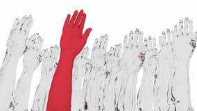 胳膊举与引人注意一的红色 免版税图库摄影