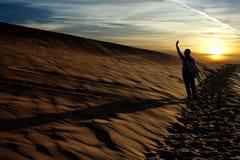 胳膊沙漠夜间人上升 库存图片