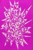 胶凝体与尖刻的抽象形状的笔图画 免版税库存图片