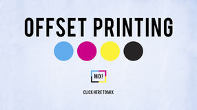 胶印过程CMYK深蓝洋红色黄色关键性概念 免版税库存图片