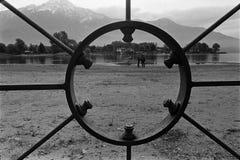 胶卷画面,黑白模式照相机,科莫,意大利湖  免版税库存照片
